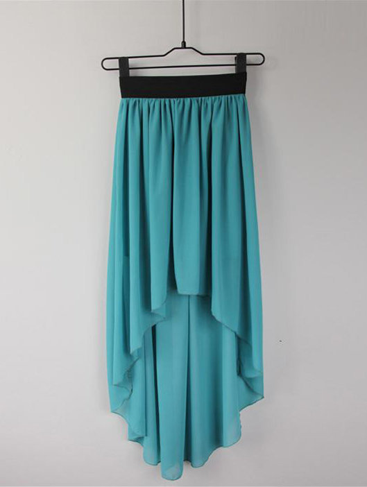 High-Low Hem Chiffon Skirt