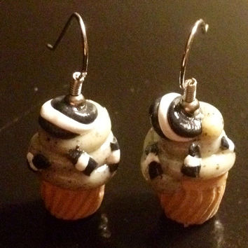 Cookies n' Cream Cupcake Earrings made with Sculpey clay