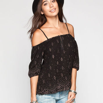 Full Tilt Border Print Womens Cold Shoulder Top Black  In Sizes
