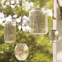 Paros Mercury Glass Lanterns | Pottery Barn