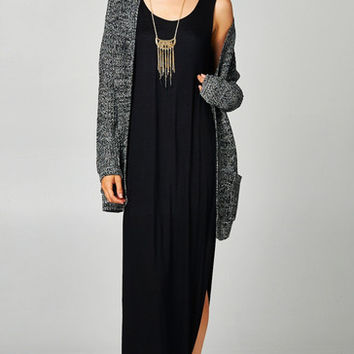 OVERSIZE KNIT CARDI WITH POCKETS - BLACK