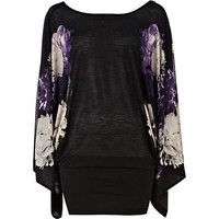 purple floral print batwing dress