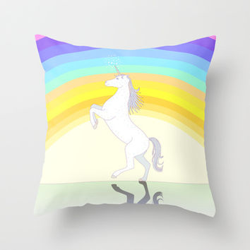 Unicorn Throw Pillow by Ornaart