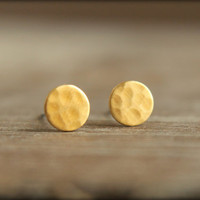 Hammered Circle Earring Studs in Raw Brass, Surgical Steel Posts