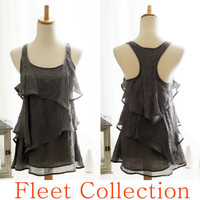 RAIN - Sleeveless Dark Gray Blouse with Tiered Flounce Detail