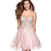 Glamour by Terani Couture Sweetheart Beaded Tulle Party Dress - Pink