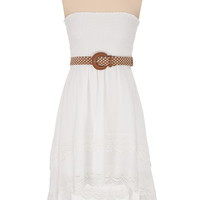 tiered crochet trim high-low tube dress