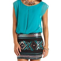 PLEATED CHIFFON & TRIBAL SEQUIN DRESS
