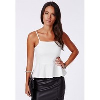 Missguided - Rosemary Ribbed Peplum Cami Top White