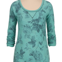 scoop neck floral print pullover