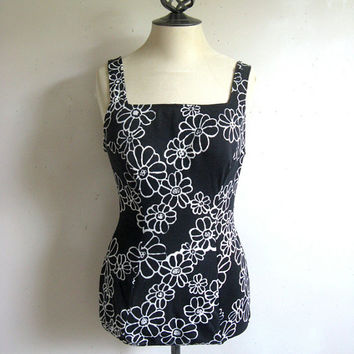 Vintage 1960s Swimsuit SEA QUEEN Black White Floral 1 pc Bathing Suit Large
