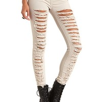 COLORED LOW RISE DESTROYED SKINNY JEANS