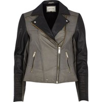 River Island Womens Dark grey color block leather biker jacket