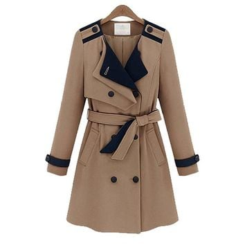 Lace Girl Women's Linen Blend Solid Fashionable Trench Coat