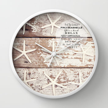 starfish on wood Wall Clock by Sylvia Cook Photography | Society6