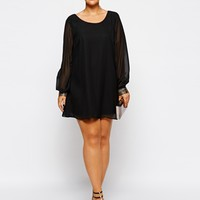 New Look Inspire Chiffon Tunic With Embellished Cuff at asos.com