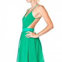 Luna Cut-Out Dress in Green - ShopSosie.com