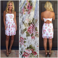 Haylea Floral Lace Strapless Dress - PINK & WHITE
