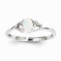 Sterling Silver and Opal Double Heart Ring - Silver /