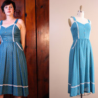 vintage sundress / blue drindl style dress / floral lace full skirt dress / size small S / bow
