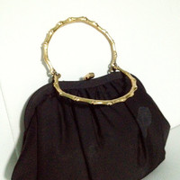 Black Shell Clutch with Gold Bamboo Handles