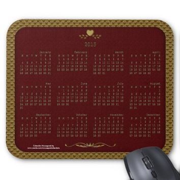 2015 Calendar Mousepad, Golden Hearts-Red