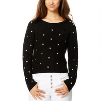 Embroidered Heart Sweater - Black