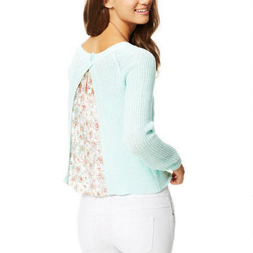 Lace Inset Back Sweater