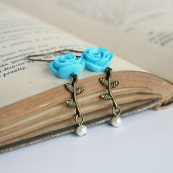 Antique Gold and Aqua Blue Resin Flower & Pearl Dangle Earrings - Handmade Flower and Twig Jewelry - Romantic Jewelry - Ready to Ship