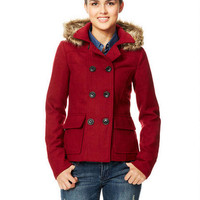 Hooded Faux Fur Trim Peacoat with Thinsulate™