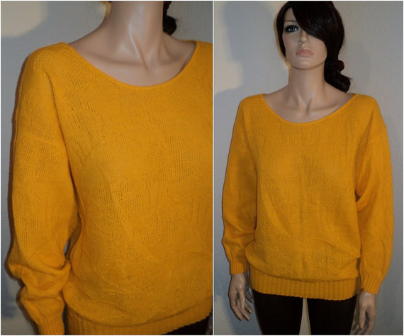 vtg 80s Yellow Floral Lightweight sweater Slouchy Net Cutout  top M