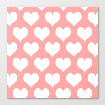 Coral Pink Hearts of Love Stretched Canvas by BeautifulHomes | Society6