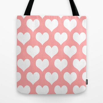 Coral Pink Hearts of Love Tote Bag by BeautifulHomes | Society6
