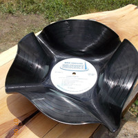 Upscale Upcycled Recycled Limbo Party Record Bowl Vinyl Album Vintage Antique LP 33rpm Black Shell Candy Dish Chips