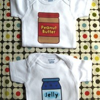 Twin set Peanut Butter and Jelly baby Onesuits short by saletlc