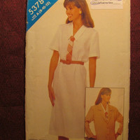 SALE Uncut 1980's Butterick See & Sew Sewing Pattern, 5378! 8-10-12 Small/Medium/Women's/Misses/Short Sleeve Loose Fitting Dress/Unlined Jac