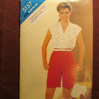 SALE Uncut 1980's Butterick See & Sew Sewing Pattern, 5157! 8-10-12 Small/Medium/Women's/Misses/Extended Shoulders/Button Up blouse/Collared