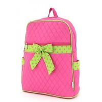 Belvah Solid Quilted Cotton Large Zippered Backpack Bag