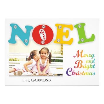 Modern colorful Noel Christmas photo flat card