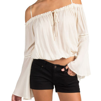 COLD SHOULDER FLARE SLEEVE CROPPED PEASANT TOP - IVORY
