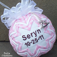 Personalized Baby Girl Quilted Ornament w/Pewter Charm - Pink Gingham Check Fabric