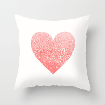 GATSBY CORAL HEART Throw Pillow by Monika Strigel | Society6