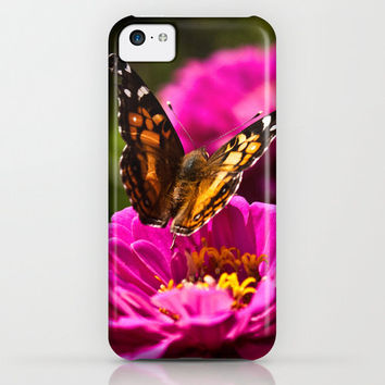 Butterfly pink zinnia Flower Macro iPhone Case iPod Touch iPad Mini Samsung Galaxy Hard Phone Cover Fine Art Unique Gift Macro Fuscia Floral