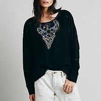 Free People Womens FP New Romantics Beaded Eagle Pullover - Black Combo,