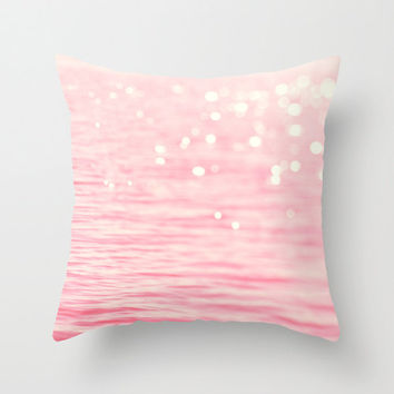 Pink and cream photo pillow, decorative light sparkles cushion, ocean photo throw pillow, white bokeh art, sparkle cover, pastel bedroom