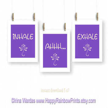 Quote download, set of 3 prints, Inhale Exhale, yoga room decor, purple wall art, yoga print, lotus art print, yoga poster, relax poster
