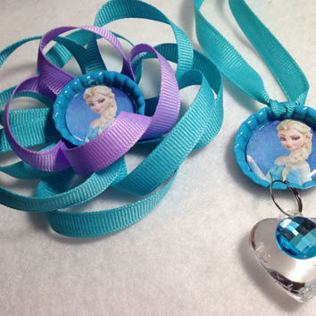 Frozen Elsa Inspired Bottle Cap Necklace and Hair Bow Set~Choice of Barrette or Hair Clip