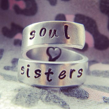Soul sisters heart inside spiral hand stamped aluminium ring