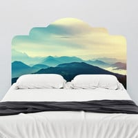 Mountain View Adhesive Headboard Wall Decal - WallsNeedLove