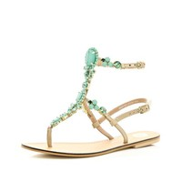 Turquoise gem stone high leg sandals